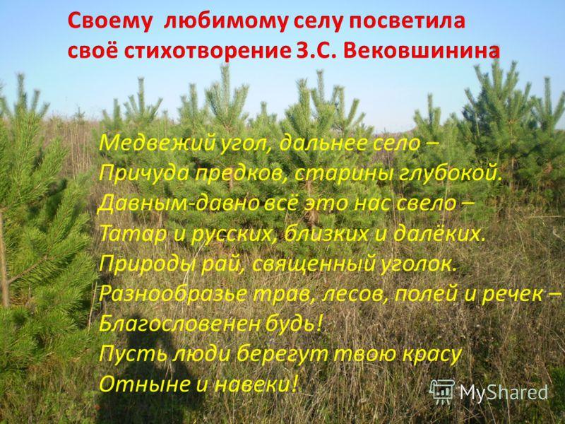 Медвежий угол, дальнее село – Причуда предков, старины глубокой. Давным-давно всё это нас свело – Татар и русских, близких и далёких. Природы рай, священный уголок. Разнообразье трав, лесов, полей и речек – Благословенен будь! Пусть люди берегут твою
