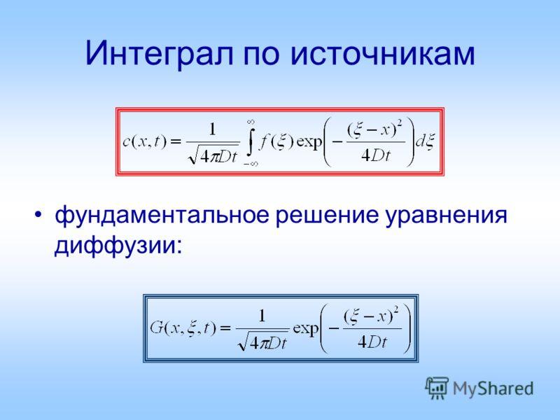 Интеграл по источникам фундаментальное решение уравнения диффузии: