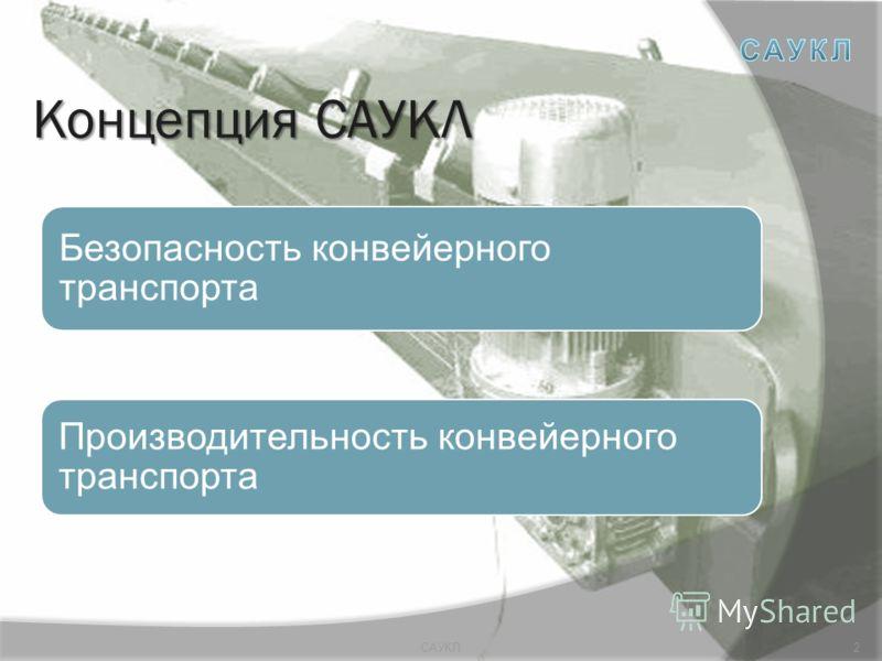 Концепция САУКЛ Безопасность конвейерного транспорта Производительность конвейерного транспорта 2САУКЛ