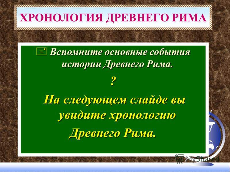 + Вспомните основные события истории Древнего Рима. ? На следующем слайде вы увидите хронологию На следующем слайде вы увидите хронологию Древнего Рима. ХРОНОЛОГИЯ ДРЕВНЕГО РИМА