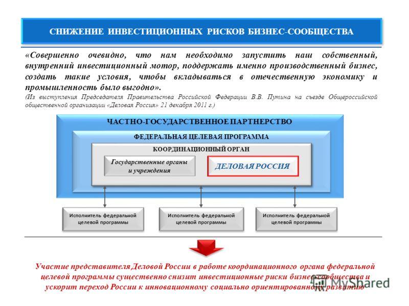 ЧАСТНО-ГОСУДАРСТВЕННОЕ ПАРТНЕРСТВО ФЕДЕРАЛЬНАЯ ЦЕЛЕВАЯ ПРОГРАММА КООРДИНАЦИОННЫЙ ОРГАН ДЕЛОВАЯ РОССИЯ Государственные органы и учреждения СНИЖЕНИЕ ИНВЕСТИЦИОННЫХ РИСКОВ БИЗНЕС-СООБЩЕСТВА «Совершенно очевидно, что нам необходимо запустить наш собствен