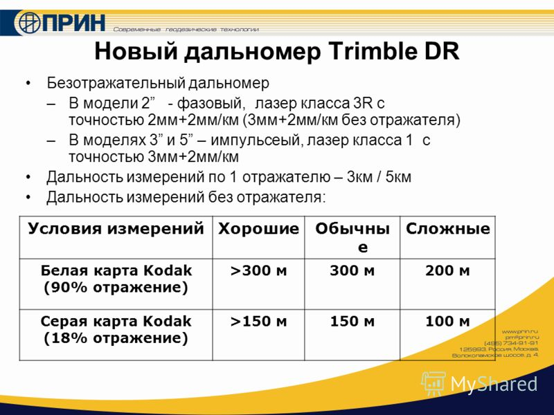 Новый дальномер Trimble DR Безотражательный дальномер –В модели 2 - фазовый, лазер класса 3R с точностью 2мм+2мм/км (3мм+2мм/км без отражателя) –В моделях 3 и 5 – импульсеый, лазер класса 1 с точностью 3мм+2мм/км Дальность измерений по 1 отражателю –