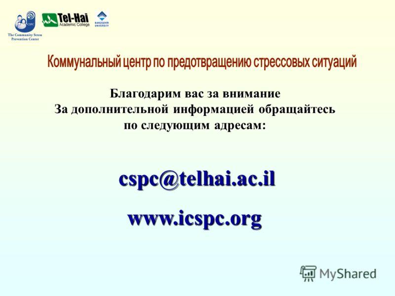 Благодарим вас за внимание За дополнительной информацией обращайтесь по следующим адресам: cspc@telhai.ac.il www.icspc.org