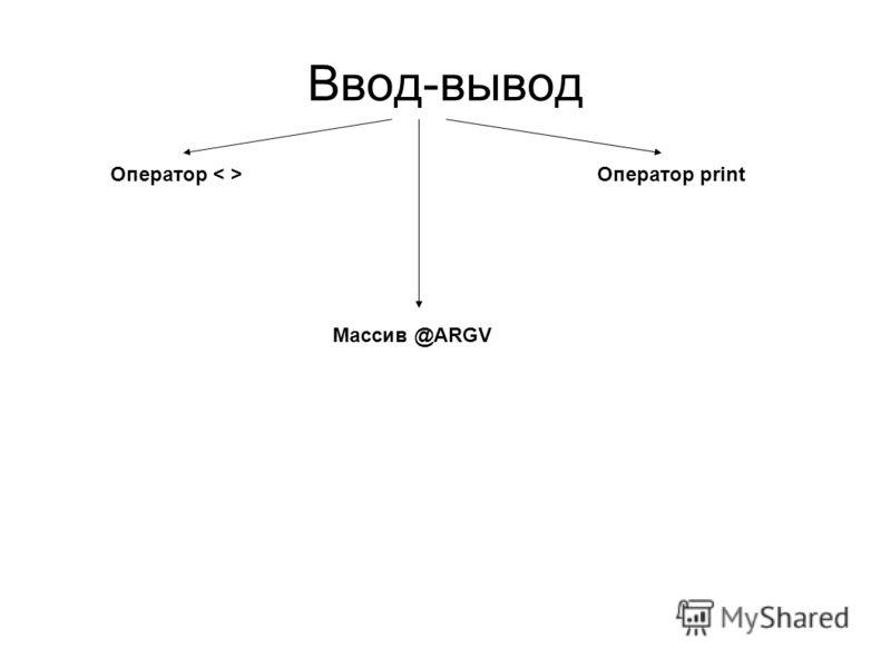 Ввод-вывод Оператор Оператор print Массив @ARGV