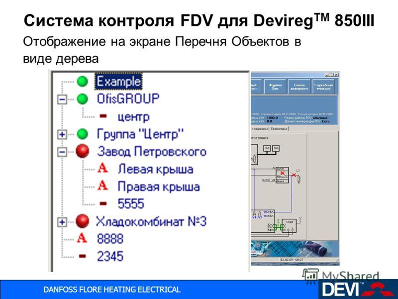 DANFOSS FLORE HEATING ELECTRICAL Система контроля FDV для Devireg TM 850III Отображение на экране Перечня Объектов в виде дерева