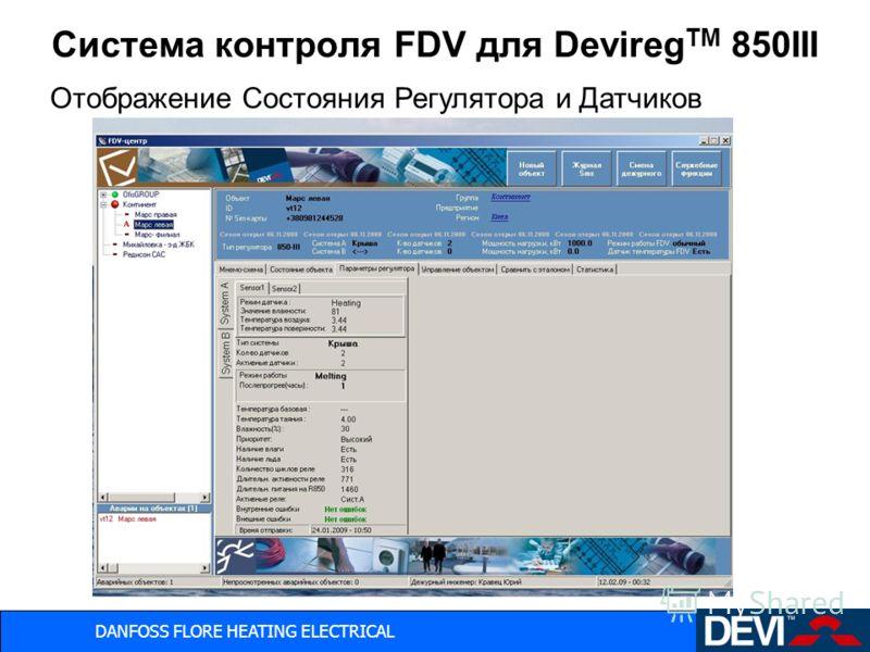 DANFOSS FLORE HEATING ELECTRICAL Система контроля FDV для Devireg TM 850III Отображение Состояния Регулятора и Датчиков