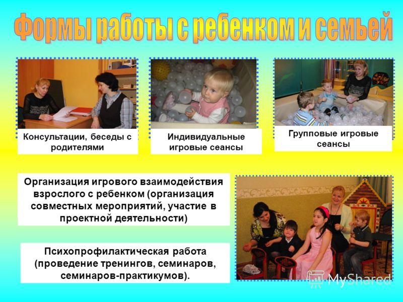 Консультации, беседы с родителями Индивидуальные игровые сеансы Групповые игровые сеансы Организация игрового взаимодействия взрослого с ребенком (организация совместных мероприятий, участие в проектной деятельности) Психопрофилактическая работа (про