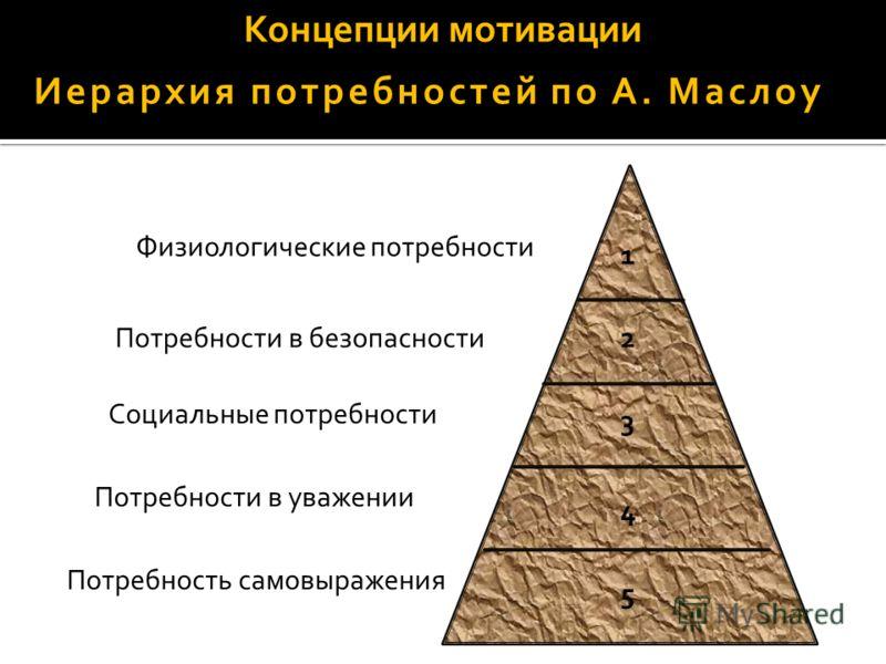 Концепции мотивации Иерархия потребностей по А. Маслоу Физиологические потребности Потребности в безопасности Социальные потребности Потребности в уважении Потребность самовыражения 1 2 3 4 5
