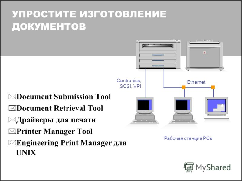УПРОСТИТЕ ИЗГОТОВЛЕНИЕ ДОКУМЕНТОВ * Document Submission Tool * Document Retrieval Tool * Драйверы для печати * Printer Manager Tool * Engineering Print Manager для UNIX Рабочая станция PCs Centronics, SCSI, VPI Ethernet