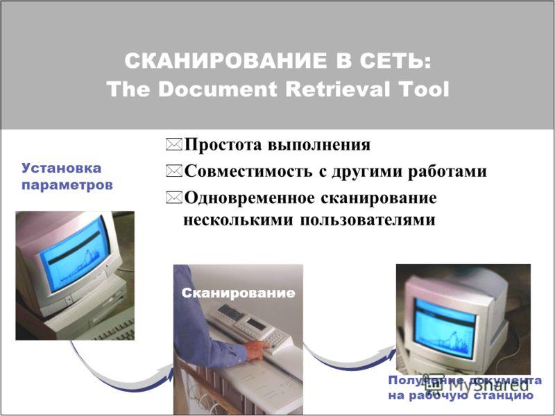 СКАНИРОВАНИЕ В СЕТЬ: The Document Retrieval Tool * Простота выполнения * Совместимость с другими работами * Одновременное сканирование несколькими пользователями Установка параметров Сканирование Получение документа на рабочую станцию