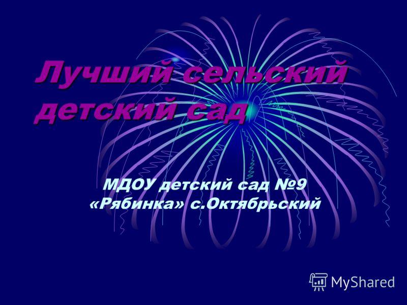 Лучший сельский детский сад МДОУ детский сад 9 «Рябинка» с.Октябрьский