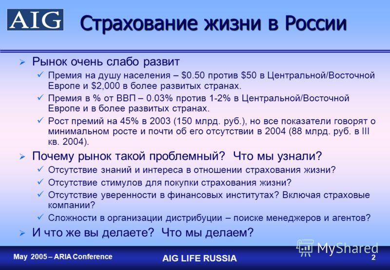 May 2005 – ARIA Conference AIG LIFE RUSSIA 1 Перспективы и проблемы развития рынка страхования жизни в России Прогноз на один год Джозеф В. Шафер