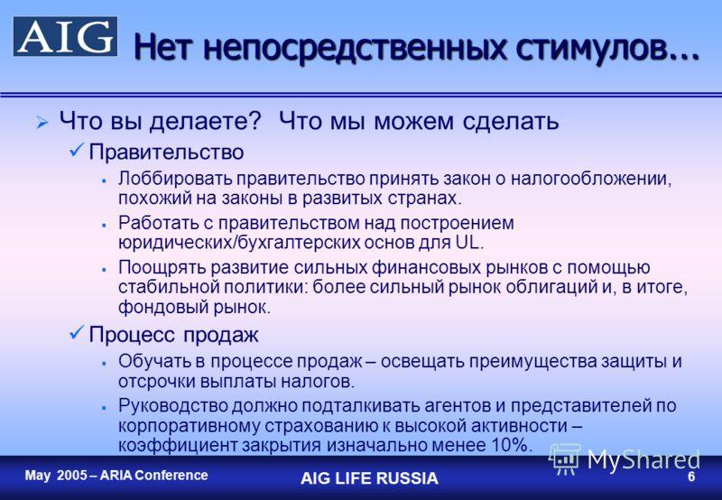 5 May 2005 – ARIA Conference AIG LIFE RUSSIA 5 Нет непосредственных стимулов … Те же потребности, но Частные лица Традиционные продукты – только с отсрочкой выплаты налогов, нет налоговых вычетов на налогооблагаемый доход. Большинство развитых рынков