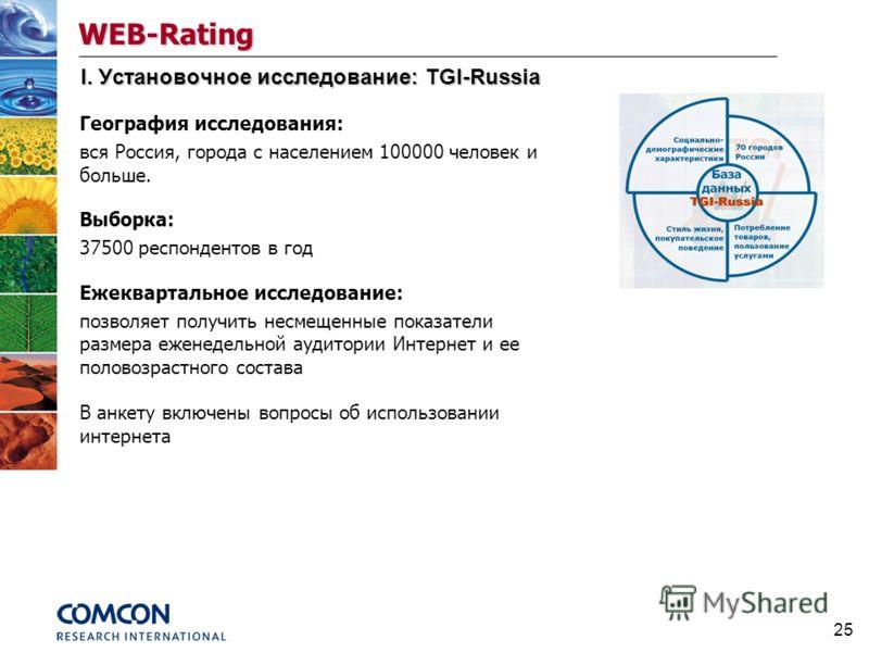 25 I. Установочное исследование: TGI-Russia География исследования: вся Россия, города с населением 100000 человек и больше. Выборка: 37500 респондентов в год Ежеквартальное исследование: позволяет получить несмещенные показатели размера еженедельной