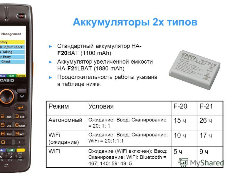 Аккумуляторы 2х типов Стандартный аккумулятор HA- F20BAT (1100 mAh) Аккумулятор увеличенной емкости HA-F21LBAT (1880 mAh) Продолжительность работы указана в таблице ниже: РежимУсловияF-20F-21 Автономный Ожидание: Ввод: Сканирование = 20: 1: 1 15 ч26