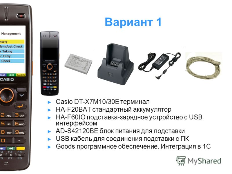 Вариант 1 Casio DT-X7M10/30E терминал HA-F20BAT стандартный аккумулятор HA-F60IO подставка-зарядное устройство с USB интерфейсом AD-S42120BE блок питания для подставки USB кабель для соединения подставки с ПК Goods программное обеспечение. Интеграция