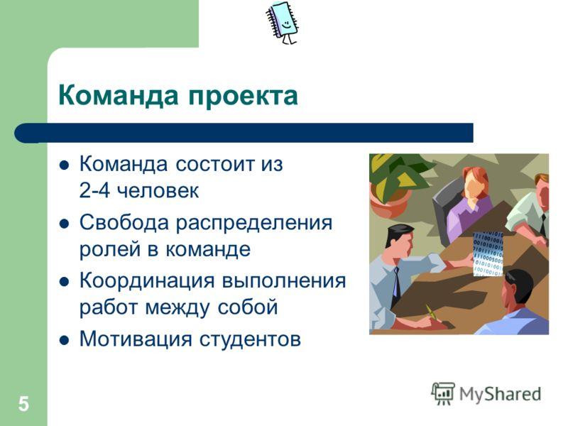 5 Команда проекта Команда состоит из 2-4 человек Свобода распределения ролей в команде Координация выполнения работ между собой Мотивация студентов