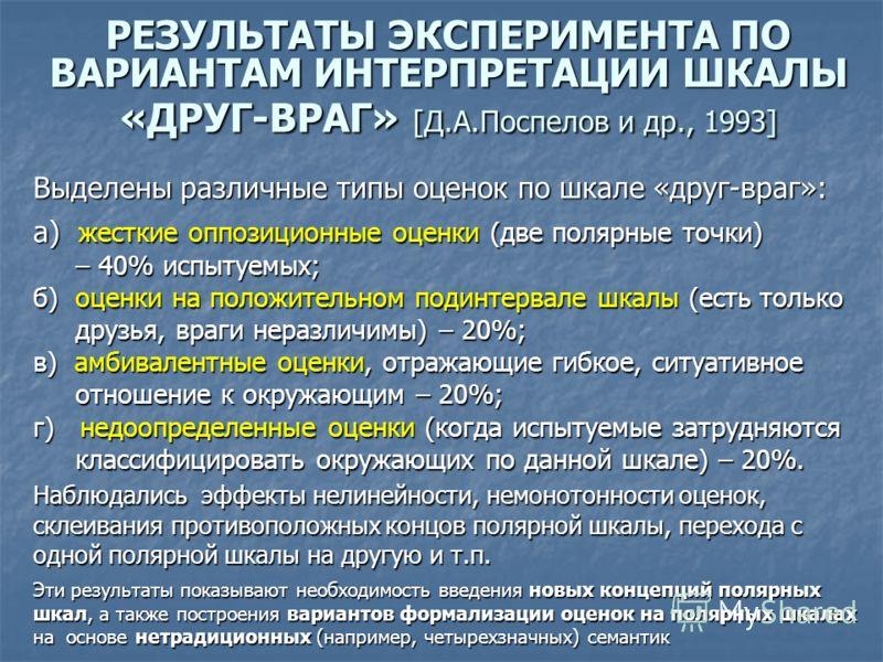 РЕЗУЛЬТАТЫ ЭКСПЕРИМЕНТА ПО ВАРИАНТАМ ИНТЕРПРЕТАЦИИ ШКАЛЫ «ДРУГ-ВРАГ» [Д.А.Поспелов и др., 1993] Выделены различные типы оценок по шкале «друг-враг»: а) жесткие оппозиционные оценки (две полярные точки) – 40% испытуемых; – 40% испытуемых; б) оценки на