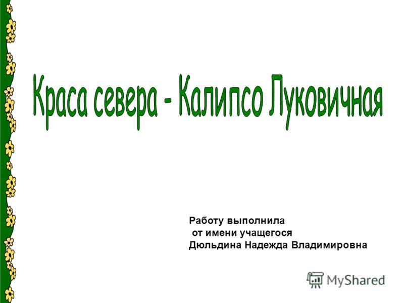 Работу выполнила от имени учащегося Дюльдина Надежда Владимировна