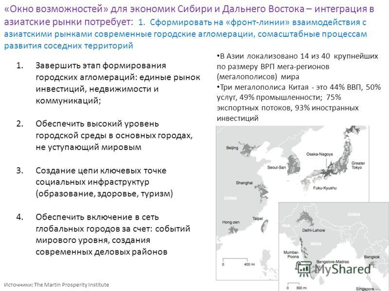 Источники: The Martin Prosperity Institute «Окно возможностей» для экономик Сибири и Дальнего Востока – интеграция в азиатские рынки потребует: 1. Сформировать на «фронт-линии» взаимодействия с азиатскими рынками современные городские агломерации, со