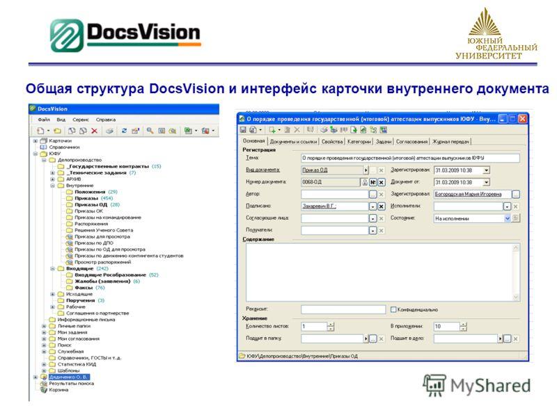Общая структура DocsVision и интерфейс карточки внутреннего документа