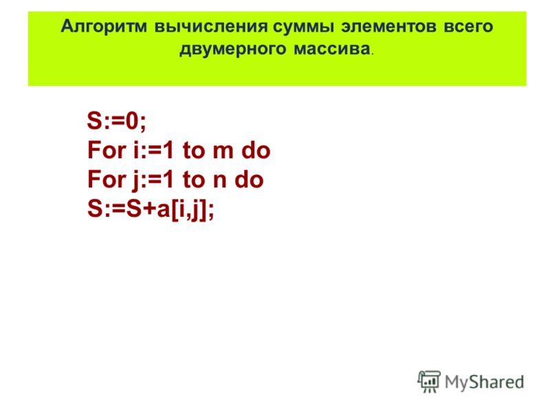 S:=0; For i:=1 to m do For j:=1 to n do S:=S+a[i,j]; Алгоритм вычисления суммы элементов всего двумерного массива.