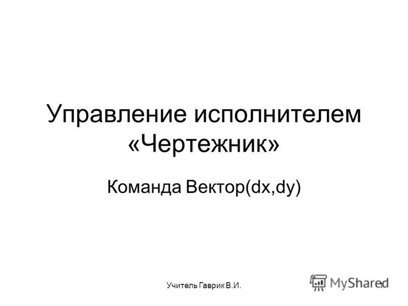 Управление исполнителем «Чертежник» Команда Вектор(dx,dy) 1Учитель Гаврик В.И.