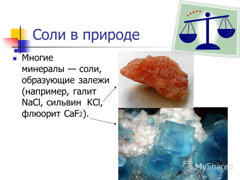 Соли в природе Многие минералы соли, образующие залежи (например, галит NaCl, сильвин KCl, флюорит CaF 2 ).