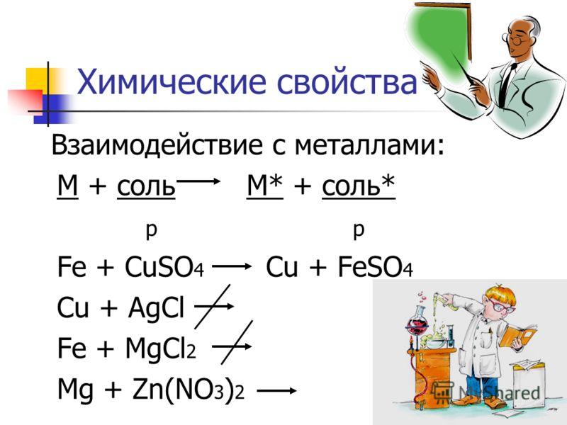 Химические свойства Взаимодействие с металлами: М + соль М* + соль* р Fe + CuSO 4 Cu + FeSO 4 Cu + AgCl Fe + MgCl 2 Mg + Zn(NO 3 ) 2