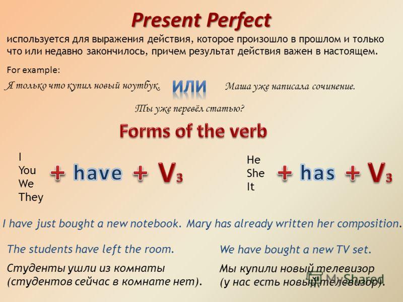 Когда употребляется present perfeet