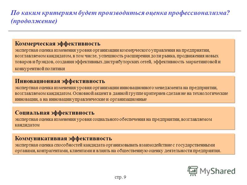 стр. 9 По каким критериям будет производиться оценка профессионализма? (продолжение) Коммерческая эффективность экспертная оценка изменения уровня организации коммерческого управления на предприятии, возглавляемом кандидатом, в том числе, успешность