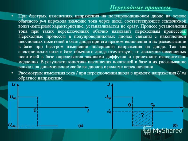 Переходные процессы. При быстрых изменениях напряжения на полупроводниковом диоде на основе обычного p-n перехода значение тока через диод, соответствующее статической вольт-амперной характеристике, устанавливается не сразу. Процесс установления тока