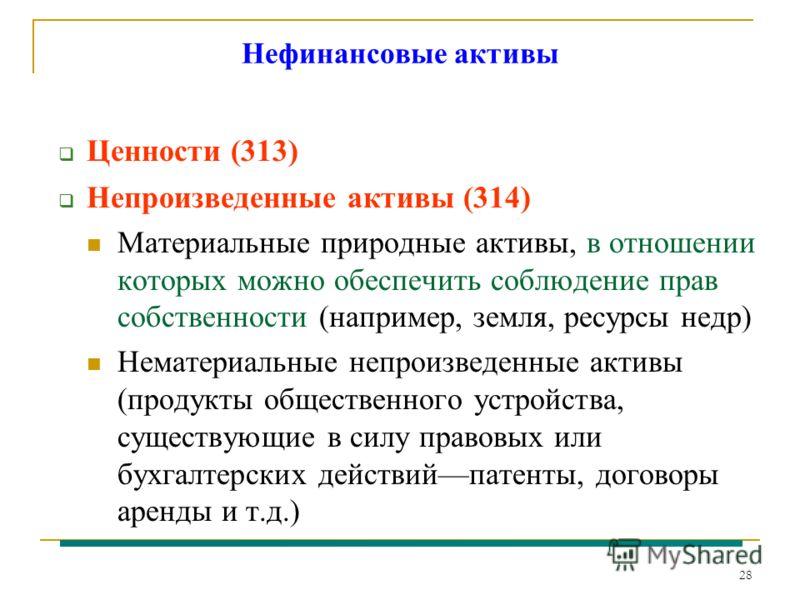 28 Нефинансовые активы Ценности (313) Непроизведенные активы (314) Материальные природные активы, в отношении которых можно обеспечить соблюдение прав собственности (например, земля, ресурсы недр) Нематериальные непроизведенные активы (продукты общес