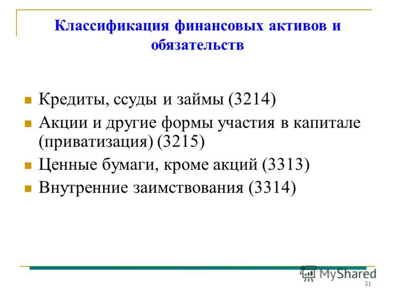 31 Классификация финансовых активов и обязательств Кредиты, ссуды и займы (3214) Акции и другие формы участия в капитале (приватизация) (3215) Ценные бумаги, кроме акций (3313) Внутренние заимствования (3314)