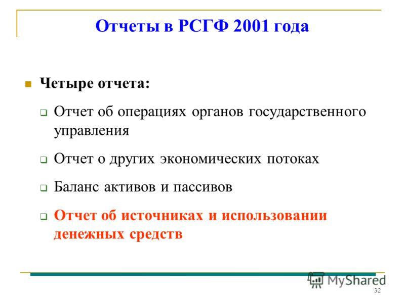 32 Отчеты в РСГФ 2001 года Четыре отчета: Отчет об операциях органов государственного управления Отчет о других экономических потоках Баланс активов и пассивов Отчет об источниках и использовании денежных средств