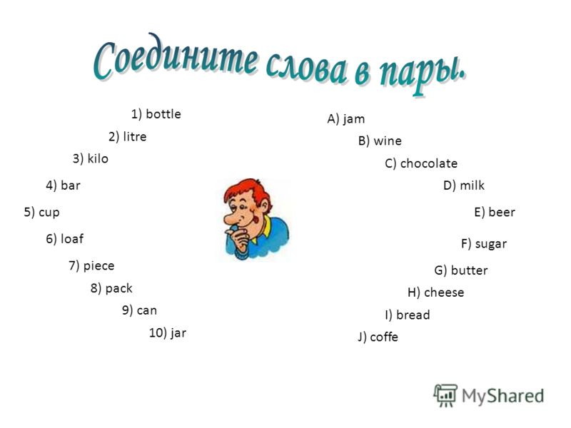 1) bottle 2) litre 3) kilo 4) bar 5) cup 6) loaf 7) piece 8) pack 9) can 10) jar A) jam B) wine C) chocolate D) milk E) beer F) sugar G) butter H) cheese I) bread J) coffe