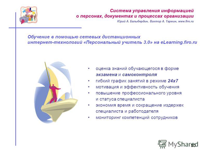 Обучение в помощью сетевых дистанционных интернет-технологий «Персональный учитель 3.0» на eLearning.firo.ru оценка знаний обучающегося в форме экзамена и самоконтроля гибкий график занятий в режиме 24х7 мотивация и эффективность обучения повышение п