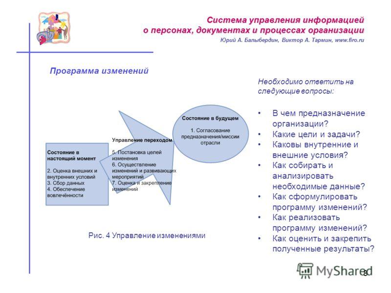 8 Программа изменений В чем предназначение организации? Какие цели и задачи? Каковы внутренние и внешние условия? Как собирать и анализировать необходимые данные? Как сформулировать программу изменений? Как реализовать программу изменений? Как оценит