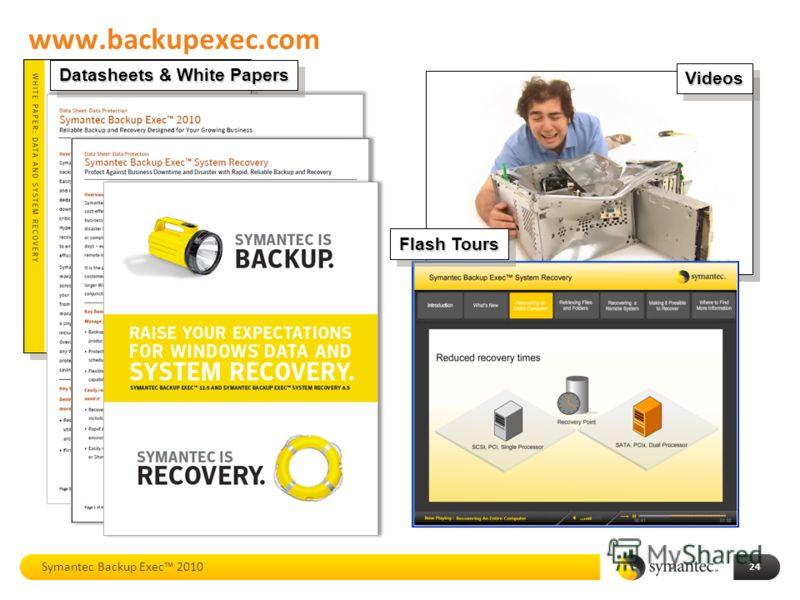 www.backupexec.com VideosVideos Flash Tours 24 Symantec Backup Exec 2010 Datasheets & White Papers