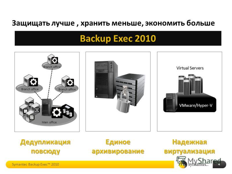 Надежная виртуализация Backup Exec 2010 Единоеархивирование Защищать лучше, хранить меньше, экономить больше 4 Дедупликация повсюду Virtual Servers VMware/Hyper-V Branch office Main office Symantec Backup Exec 2010