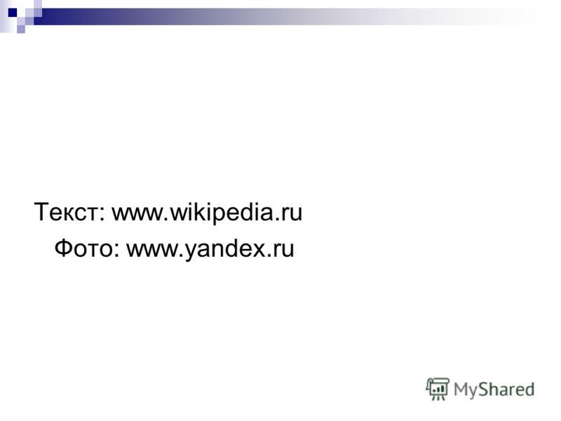 Текст: www.wikipedia.ru Фото: www.yandex.ru