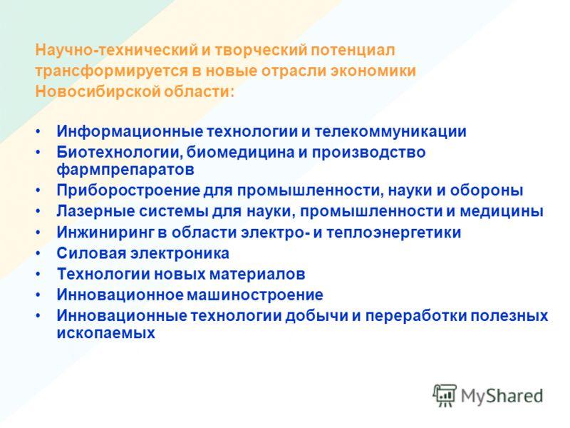 Научно-технический и творческий потенциал трансформируется в новые отрасли экономики Новосибирской области: Информационные технологии и телекоммуникации Биотехнологии, биомедицина и производство фармпрепаратов Приборостроение для промышленности, наук