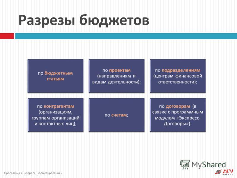 Разрезы бюджетов по бюджетным статьям по проектам ( направлениям и видам деятельности ); по подразделениям ( центрам финансовой ответственности ); по контрагентам ( организациям, группам организаций и контактных лиц ); по счетам ; по договорам ( в св