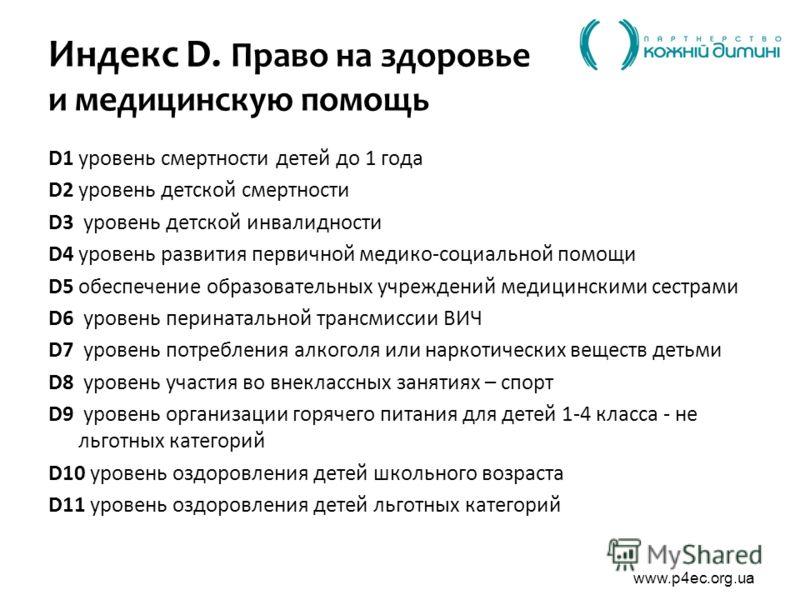 www.p4ec.org.ua Индекс D. Право на здоровье и медицинскую помощь D1 уровень смертности детей до 1 года D2 уровень детской смертности D3 уровень детской инвалидности D4 уровень развития первичной медико-социальной помощи D5обеспечение образовательных