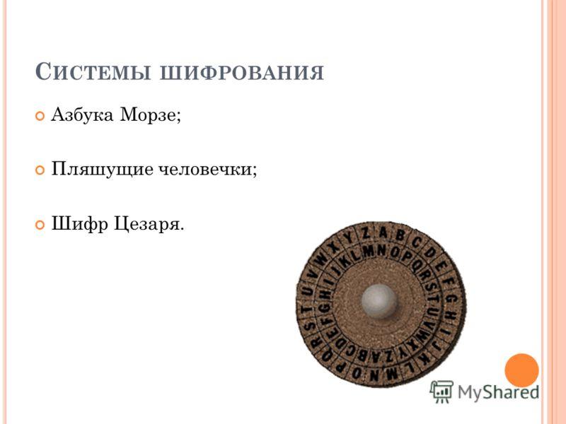 С ИСТЕМЫ ШИФРОВАНИЯ Азбука Морзе; Пляшущие человечки; Шифр Цезаря.