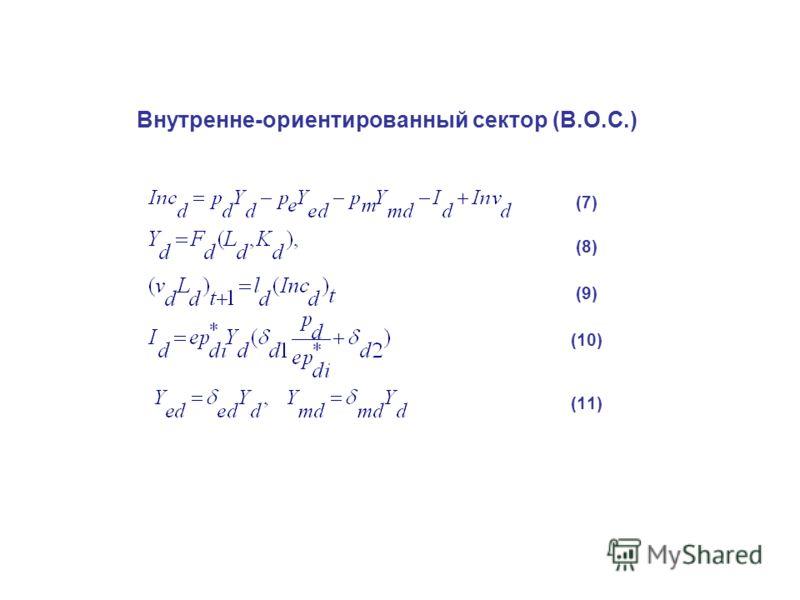 Внутренне-ориентированный сектор (В.О.С.) (7) (8) (9) (10) (11)