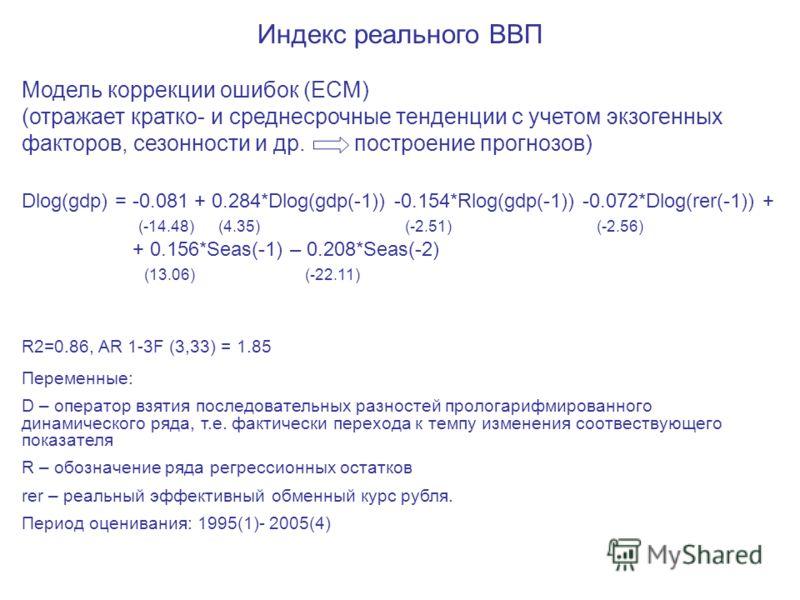 Индекс реального ВВП Модель коррекции ошибок (ECM) (отражает кратко- и среднесрочные тенденции с учетом экзогенных факторов, сезонности и др. построение прогнозов) Dlog(gdp) = -0.081 + 0.284*Dlog(gdp(-1)) -0.154*Rlog(gdp(-1)) -0.072*Dlog(rer(-1)) + (
