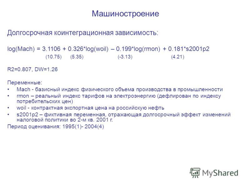 Машиностроение Долгосрочная коинтеграционная зависимость: log(Mach) = 3.1106 + 0.326*log(woil) – 0.199*log(rmon) + 0.181*s2001p2 (10.75) (5.35) (-3.13) (4.21) R2=0.807, DW=1.26 Переменные: Mach - базисный индекс физического объема производства в пром