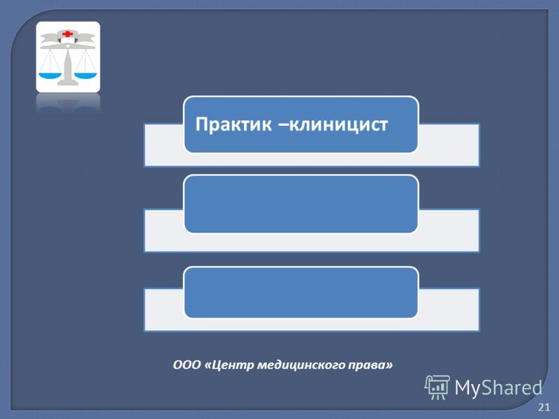 ООО «Центр медицинского права» Практик –клиницист 21