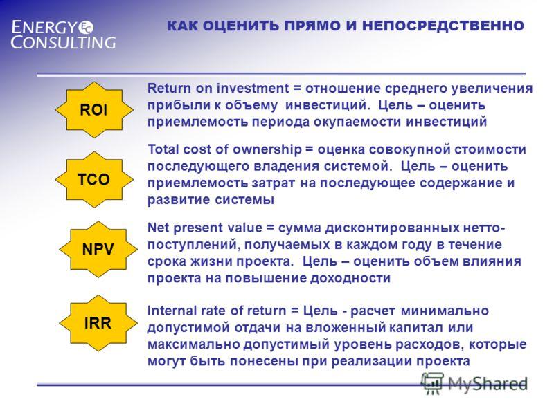 КАК ОЦЕНИТЬ ПРЯМО И НЕПОСРЕДСТВЕННО ROI TCO NPV IRR Return on investment = отношение среднего увеличения прибыли к объему инвестиций. Цель – оценить приемлемость периода окупаемости инвестиций Total cost of ownership = оценка совокупной стоимости пос